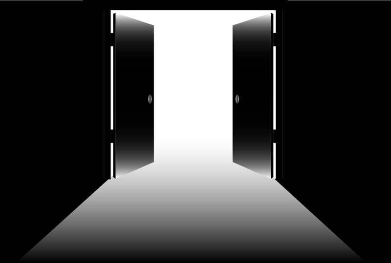 Animation of exit doors open to empty outside space
