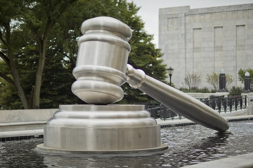 Giant statue of pounding gavel outside Columbus, Ohio courthouse