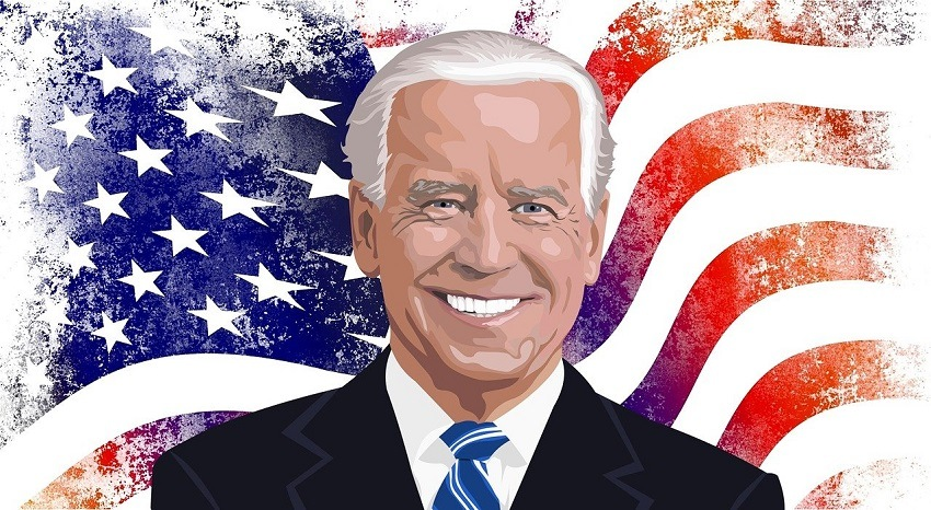 Illustration of 46th United States President Joseph Biden smiling in front of American Flag-themed background